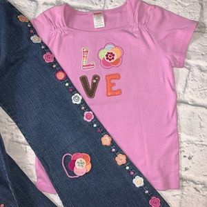 Gymboree 'LOVE' valentine Shirt, Jeans & Hair